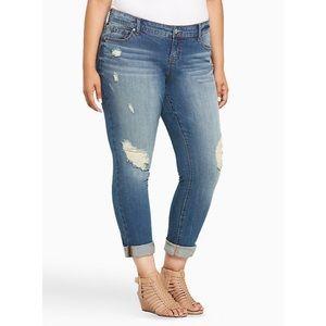 Torrid Distressed Medium Wash Boyfriend Jeans